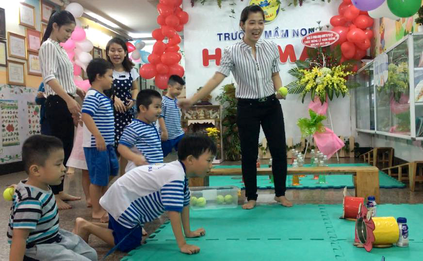 Các hoạt động chung của bé trường mầm non Hoa Mai Q5